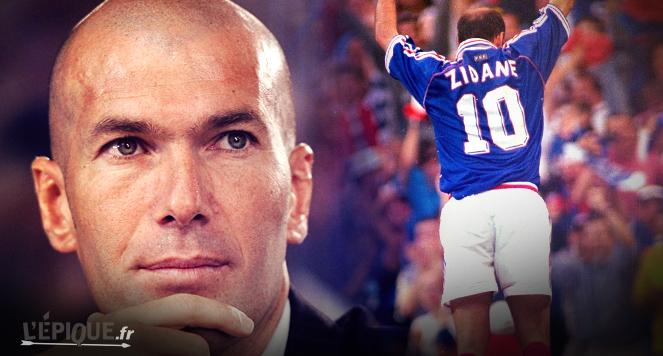 Zinedine <b>Zidane marque</b> deux buts de la <b>...</b> - 2015-06-19-zidane-maillot-france-98-mondial-calecon-bleus-football-lepique